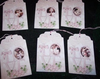 SIX Vintage LOVE Hang tags / Gift tags, Wedding, Engagement, Shower, Retro