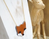 Necklace Fox leather, brass gilded with fine gold finishes