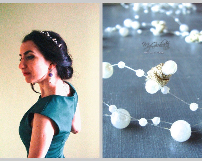Bridal Crown, Hair Bridal, Beaded Hair Crown, Wedding Hair Accessories, Christening Girl Outfit, Pearls, Wedding Gold Crown, Hair Crown Girl