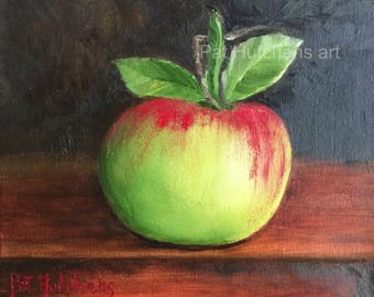 Gift/An Apple A Day/ Apple painting/ oil painting/original art/ /kitchen painting/gift/ mothers day/kitchenart/birthday /still life