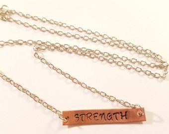 Necklace, Strength Necklace, Hand Stamped Metal Necklace, Stamped Necklace Strength, Metal Charm Necklace, Stamped Strength Necklace, Strong