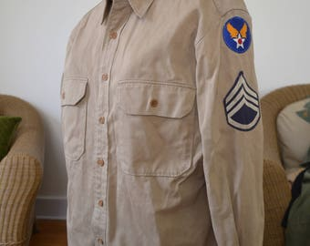 WWII US Army Air Force EM Khaki shirt with insignia