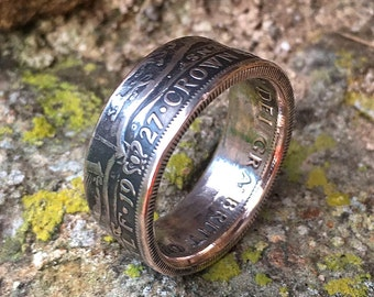British Silver Half Crown Coin Ring