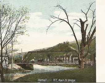 Vintage Postcard 1905 Era, Main Street Bridge, Hornell, New York, NY