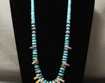 Bisbee Turquoise Vintage Navajo Spiny Oyster Silver Necklace