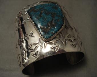 Colossal Navajo Old Kingman 2-1/2' Wide Sterling Silver Sun Bracelet