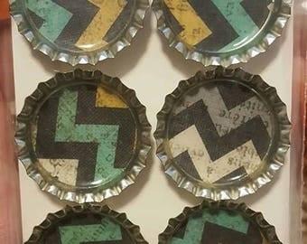 Multi-colored Chevron Bottle Cap Magnets