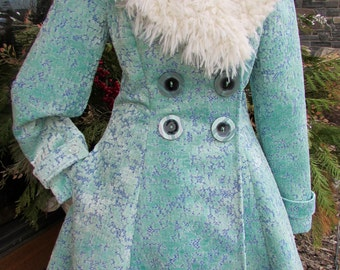LC9 - Bespoke -  Ladies aqua blue velvet coat with Ostrich Collar