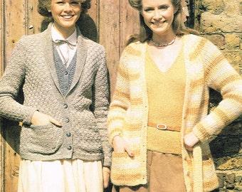 569e4aab45043c Vintage Downloadable Knitting Pattern - 4 Knitting Patterns  Basket Weave    Striped Jacket
