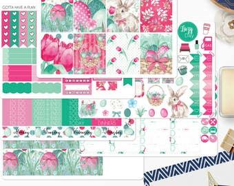 Planner Stickers Easter Basket Weekly Kit for Erin Condren, Happy Planner, Filofax, Scrapbooking