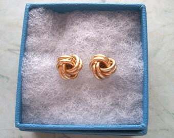 "Vintage Marked S 14K Solid Gold Knot Earrings,posts for pierced ears,not scrap,3/8"" or 8mm,yellow gold,1.2 grams,with 14k backings"