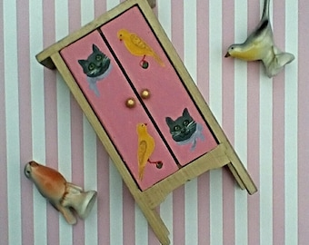 Hand Painted Doll Cupboard/Furniture with Kittens and Birds