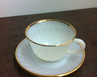 Vintage Cup & Saucer - Fire King White Tea Cup Set - Made in the USA - Retro Kitchen Decor