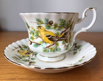 "Royal Albert ""GoldFinch"" Woodland Series Vintage Tea Cup and Saucer, Bird Teacup and Saucer, Bone China"