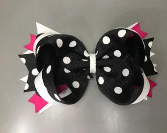 Black polkadot boutique bow