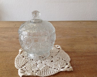 Sugar Bowl vintage glass, former serving dish, 50s, candy, biscuit, sweet, shabby chic and french chic gold sugar bowl