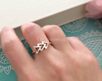 Arrow Ring - One Direction - Arrow Jewelry - Triangle Ring - Silver Ring - Gold Ring - Minimalist Jewelry - Dainty Jewelry - Gift for her
