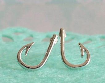 Fish Hook Earrings - Hook Earrings - Fish Hook Jewelry - Sinner Gift - Sinner Jewelry - Fish Earrings - Silver - Gold - Studs Earrings - BFF