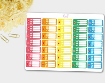 Diabetes Stickers, Diabetic Blood Sugar Tracker, Diabetes Planner Stickers