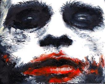 Pastel portrait of Heath Ledger alias Joker in Batman movie