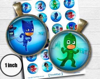 "PJ Masks Digital Collage Sheet 1"" inch 25mm Bottlecap Printable Download for pendants magnets cupcake toppers birthday"