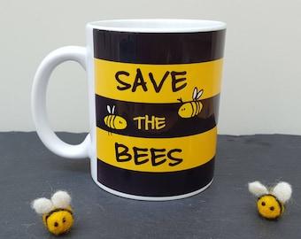 Bee Mug - Save the Bees - Hand Drawn Original Artwork - Donation to Charity