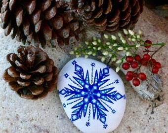 Snowflake Mandala Painted Rock