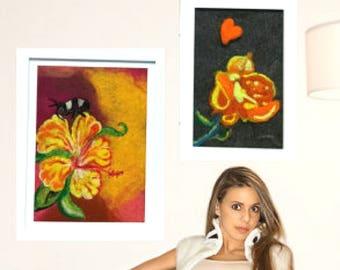 Orange Floral Wool Paintings, Needle Felted Art, Hand Crafted Felt Pictures, Genuine Needle Felted Fibre Art , Great Keepsake, Framed Art,