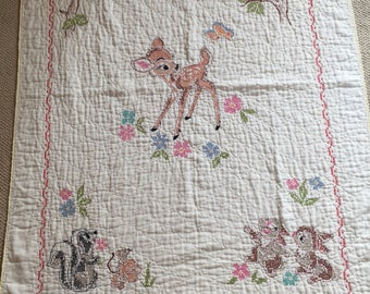 Baby Vintage baby quilt handmade yellow - hand embroidered would make precious wall decoration- not suitable for daily wear & tear
