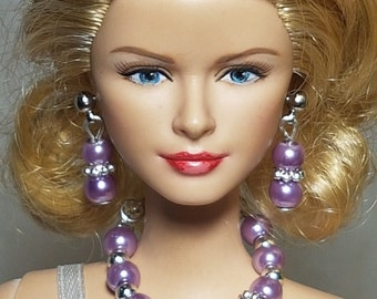 Purple, mint, tea rose or apricot jewelry for Barbie and other fashion dolls