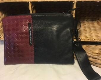 Maroon and black handmade leather wristlet set