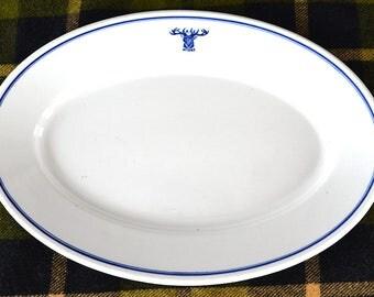 B.P.O.E. Vintage Elks Lodge Serving Platter | Benevolent and Protective Order of Elks (B.P.O.E.) Stoneware Platter | Boutell Bros, Mpls, MN