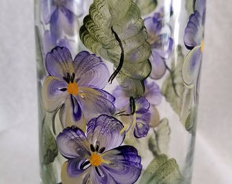 Pansy Bud/flower vase, hand painted vase, glass vase. pansy cylinder vase, flower vase, cylinder flower vase, purple flower vase