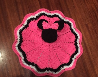 Crochet Disney Inspired Minnie Mouse Doll, Lovey, Security Blanket