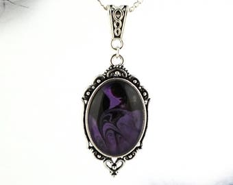 Victorian purple necklace Handmade stone Fantasy jewelry Gothic necklace Witch necklace Purple jewelry Jewelrygift for her