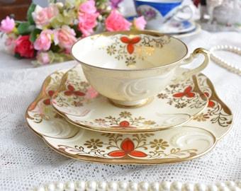 german tea cup flower tea cup set Eschenbach Bavaria Germany flower tea cups trio german porcelain floral teacup
