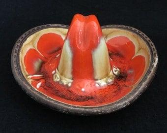 Vintage Treasure Craft Orange Lava Dish Ashtray Sombrero Hat