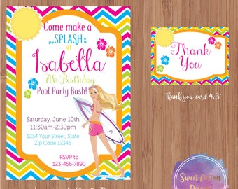 Barbie invitation/Barbie Birthday/ Barbie Pool Party with thank you note