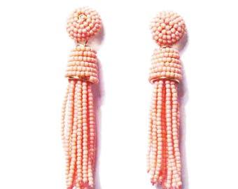 Dazzling Pink Beaded Tassel Statement Earrings