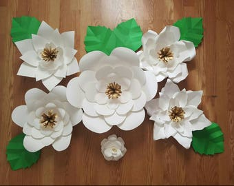 Large Paper Flowers, set of 6 flowers leaves INCLUDED, beautiful Home decor, event decor, customize size style and colors!!