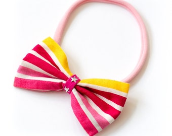 """Bow hair band all sizes """"stripes"""""""