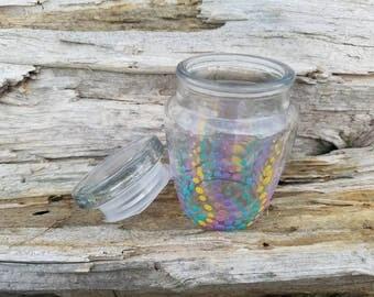 Pastel rainbow stash jar, pastel rainbow polka dot stash jar, rainbow stash jar, rainbow treasure jar, rainbow herb jar, pastel stash jar