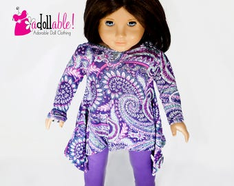 18 inch doll clothes made to fit like american girl doll clothes, purple paisley twirly tunic top and purple leggings