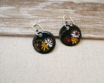 Enameled Dark Forrest Green Floral Earrings