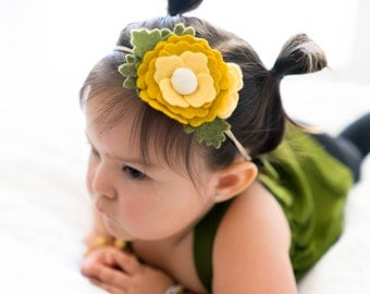 Floral Spring Headband | Yellow Floral Felt - Easter Floral Accessories - Flower Girl Hair Accessories -