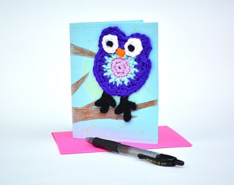 Crochet Owl Greeting Card: Thank you card, get well card, friendship card, sympathy card, just because, thinking of you.