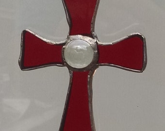 Stained Glass Cross  ( Red )