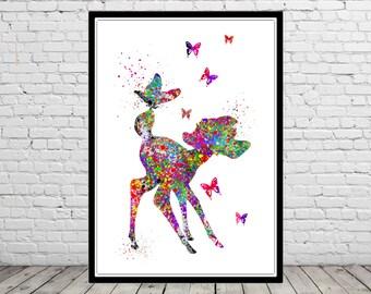Bambi inspired, watercolor Bambi, Bambi print, Bambi nursery, nursery print, Kids Room Decor, nursery, Bambi poster, print (1839b)