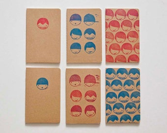 6 blank notebooks with lovingly illustrated cover