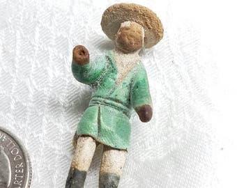 Vintage Chinese Miniature Mud Man Figurine Hand sculpted Mudman Figure Hand painted Bonsai figurine clay Figurine Asian Male Pottery Figure